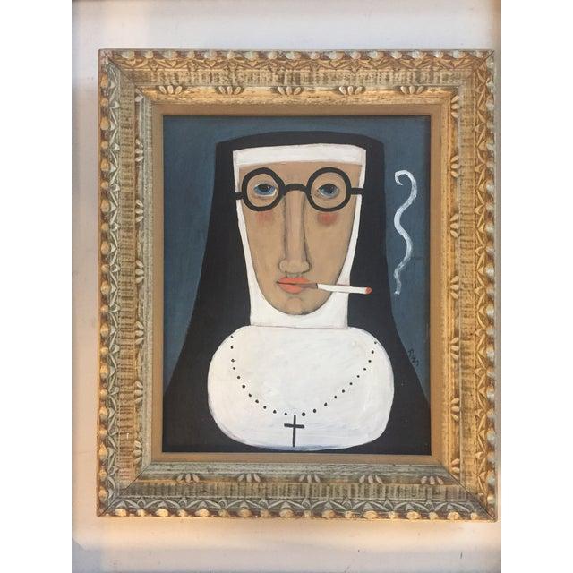 """Contemporary Folk Artist Rose Walton""""Smoking Nun"""" - Image 2 of 5"""