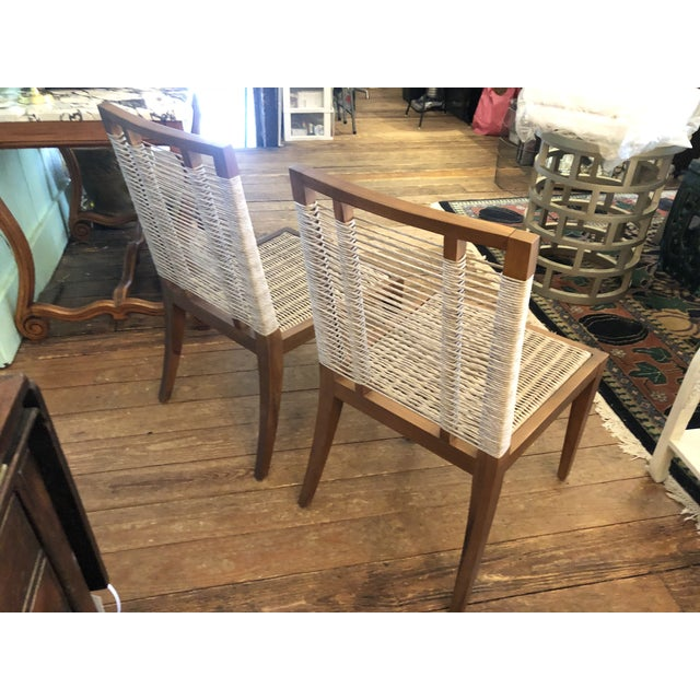 Tan Organic Modern Pair of Raffia Rope & Teak Side Chairs -A Pair For Sale - Image 8 of 13