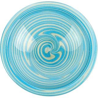 Fratelli Toso Murano Sky Blue Optic Swirl Gold Flecks Italian Art Glass Bowl For Sale