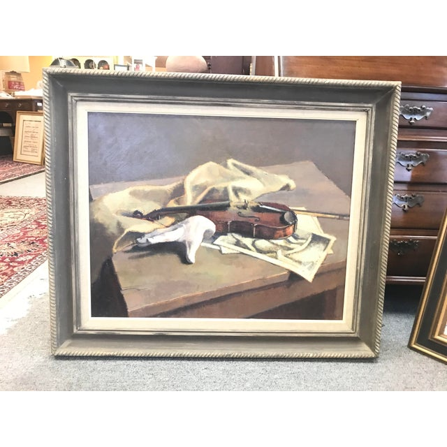 Vintage Mid-Century Caddell Violin and Hand Oil Painting For Sale - Image 4 of 5