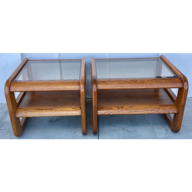 Geometric Oak & Glass Side Tables - Image 7 of 8