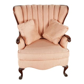 Vintage Upholstered Wingback Armchair For Sale