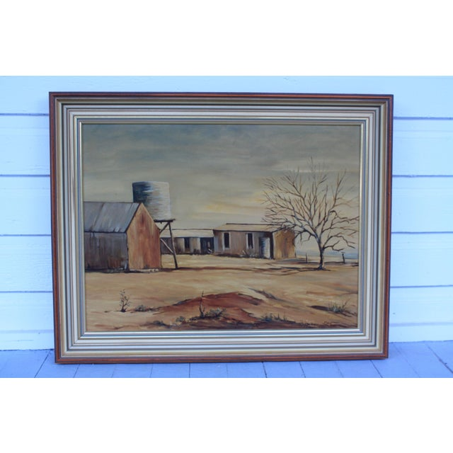 A captivating sunburnt, windswept landscape by South Australian artist May Jones. This vintage oil painting is entitled...