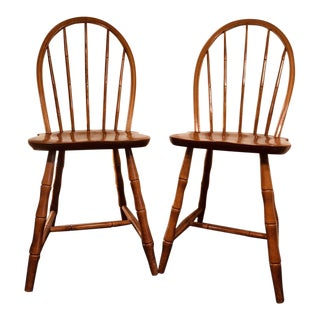 1940s Vintage Nichols and Stone Windsor Side Chairs- A Pair For Sale