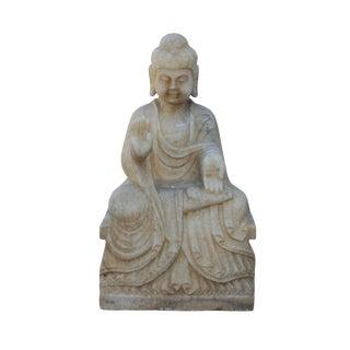 Chinese Distressed Brown White Stone Sitting Abhaya Mudra Buddha Statue
