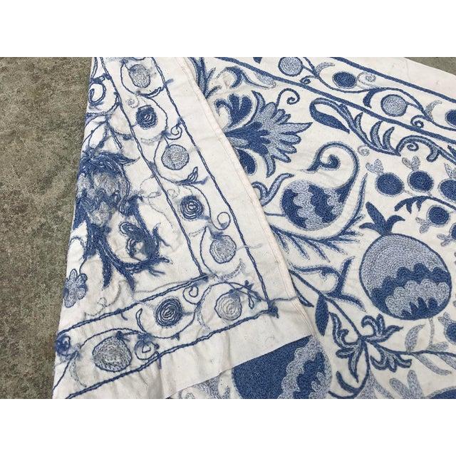Blue Suzani Silk Table Runner - Image 6 of 6