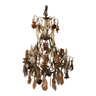 Vintage Crystal Chandelier With Grapes, Apples and Pears - 19e Century