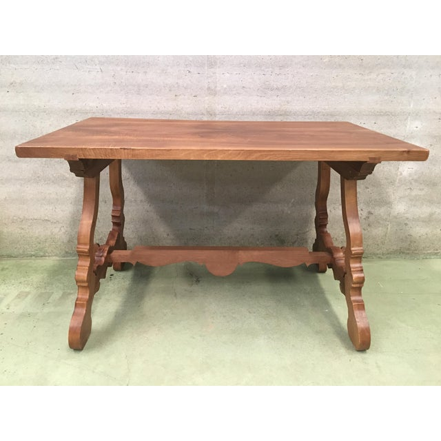 Brown Early 20th Century Spanish PineTrestle Table With Wood Stretcher For Sale - Image 8 of 12
