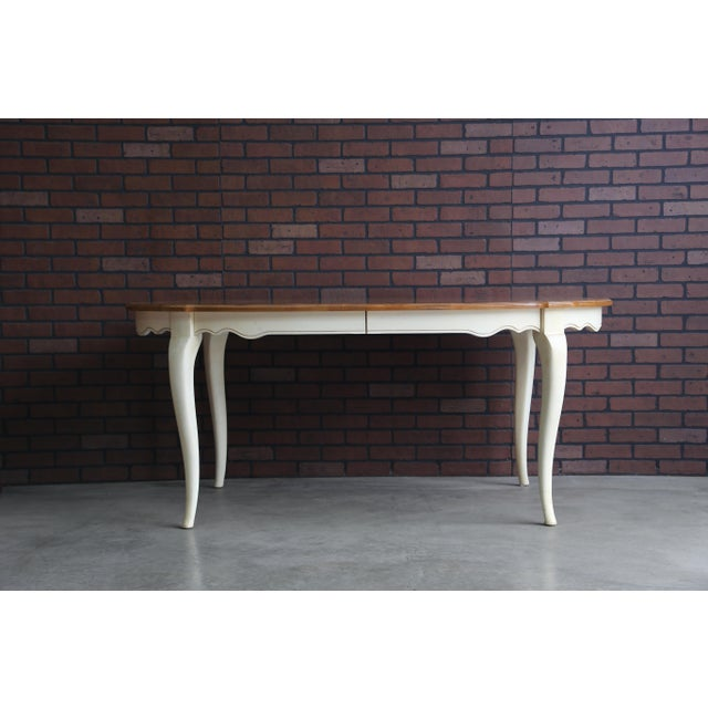 Brown French Country Ethan Allen Oval Extension Dining Table For Sale - Image 8 of 8