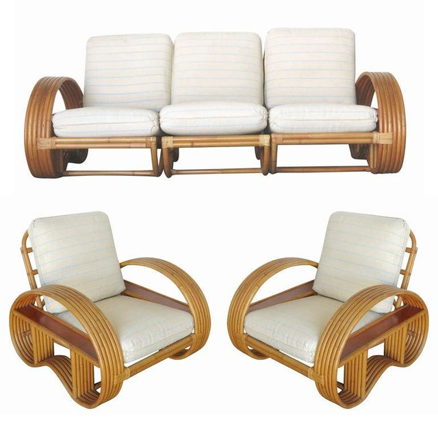 Restored Paul Frankl Style Six-Strand Arm With Mahogany Shelf, Sofa + Chairs For Sale - Image 11 of 11