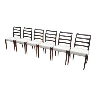 Vintage Mid Century DScan Rosewood Ladder-Back Type Chairs- Set of 6 For Sale