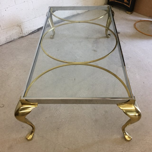 Brass, Chrome and Glass Mid Century Coffee Table - Image 4 of 10