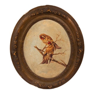 Vintage French Songbirds Oval Framed Oil Painting For Sale