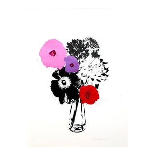 """Pink Splash"" Contemporary Botanical Mixed-Media Screenprint by Rosha Nutt For Sale"