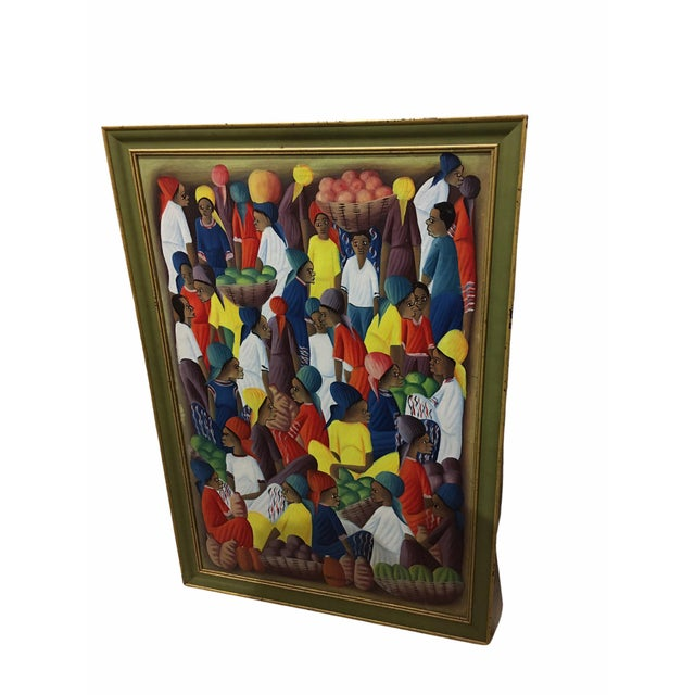 Oil on Canvas Painting of a Haitian Market by Andre Guervil For Sale - Image 4 of 10