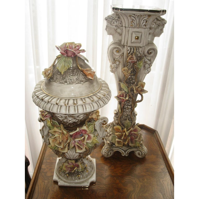 Ceramic Capodimonte Jardiniere and Pedestal - A Pair For Sale - Image 7 of 9