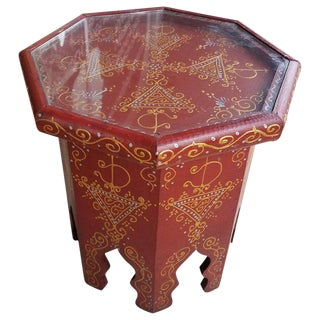 Red Hexagonal Moroccan Hand-Painted Side Table