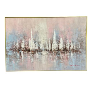 1980s Postmodern Abstract Impasto Oil Painting by Henderson, Framed For Sale