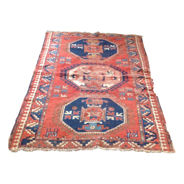 Antique Persian Red & Blue Rug For Sale