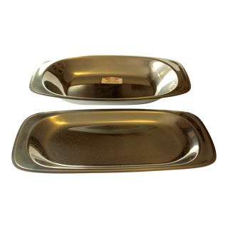 1970s Vintage Stainless Steel Serving Plate and Serving Bowl, Made by Wmf - Set of 2 For Sale