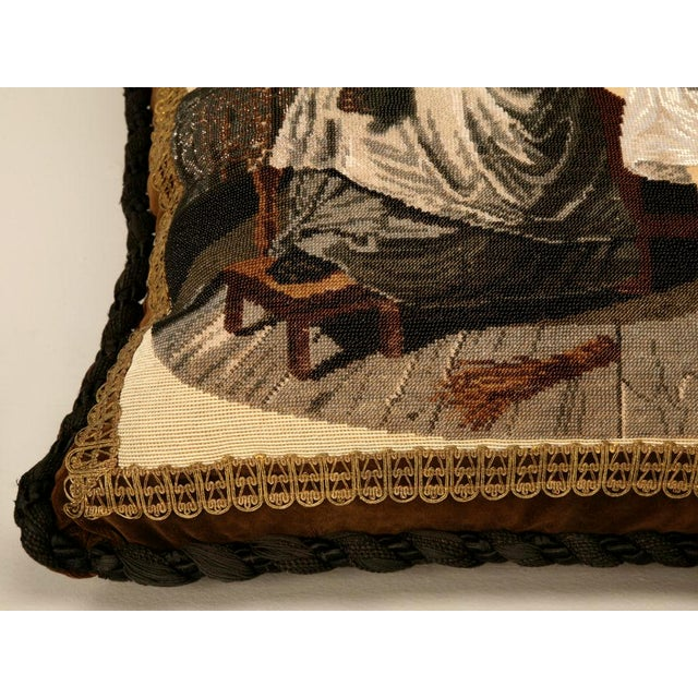 c.1880 The Best Antique English Folk Art Hand-Beaded Pillow Ever For Sale - Image 9 of 10