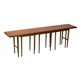 Danish Modern Low Console with 3 Side Tables