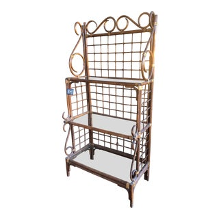 Vintage Rattan Bakers Rack For Sale