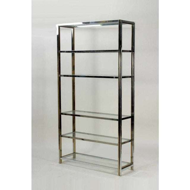 Mid Century Chrome, Glass and Brass Tone Etagere For Sale In Boston - Image 6 of 6