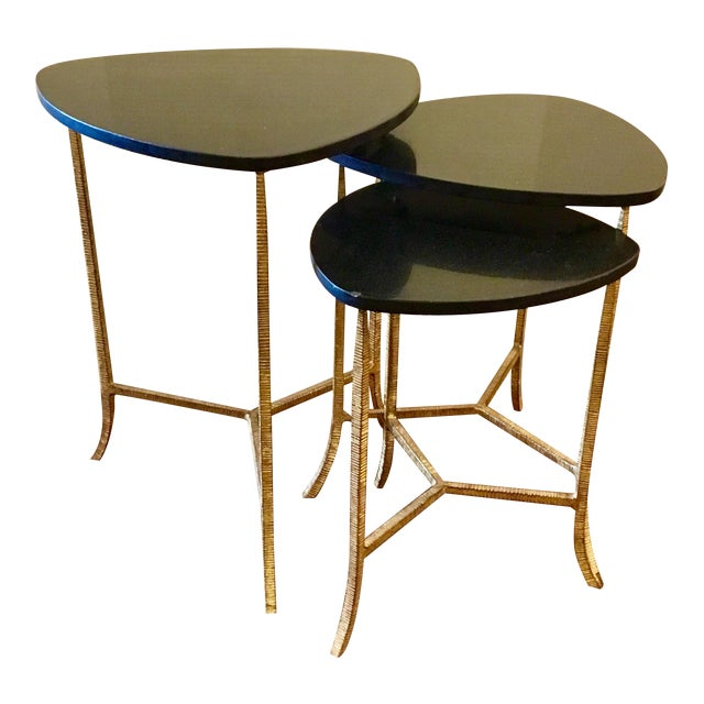 Arteriors Modern Black and Gold Connor Nesting Tables Set of Three For Sale