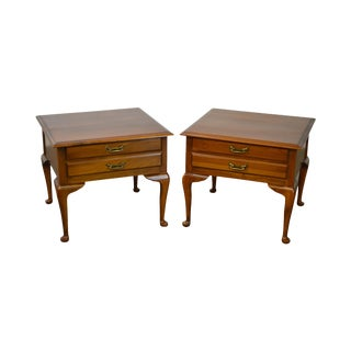 Harden Solid Cherry Pair of Vintage Square Queen Anne End Tables