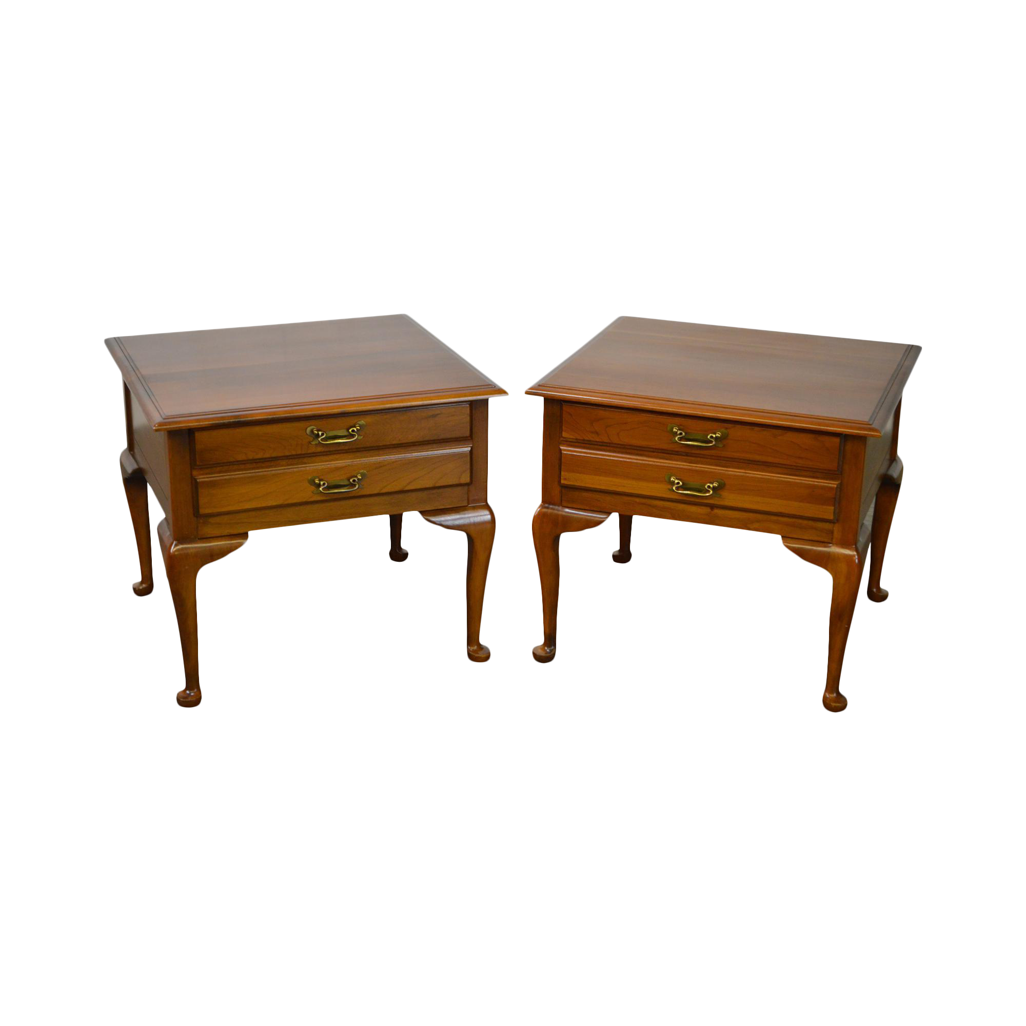 Charmant Harden Solid Cherry Pair Of Vintage Square Queen Anne End Tables | Chairish