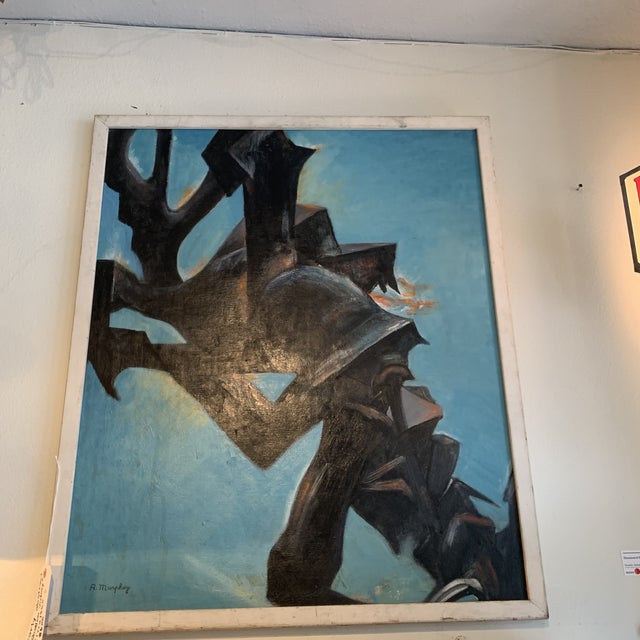 Fabulous painting in a Midcentury wooden frame in good vintage condition.