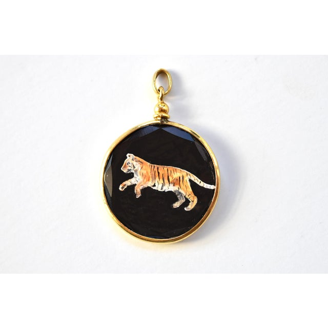 This is a new miniature oil painting of a Bengal Tiger in an antique French late 19th-to early 20th-century gold wash...