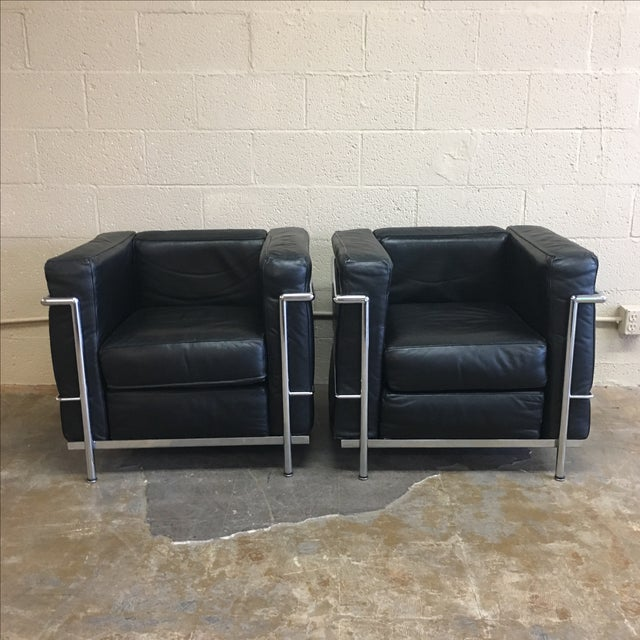 Vintage Le Corbusier Lc3 Style Lounge Chairs - A Pair - Image 2 of 5