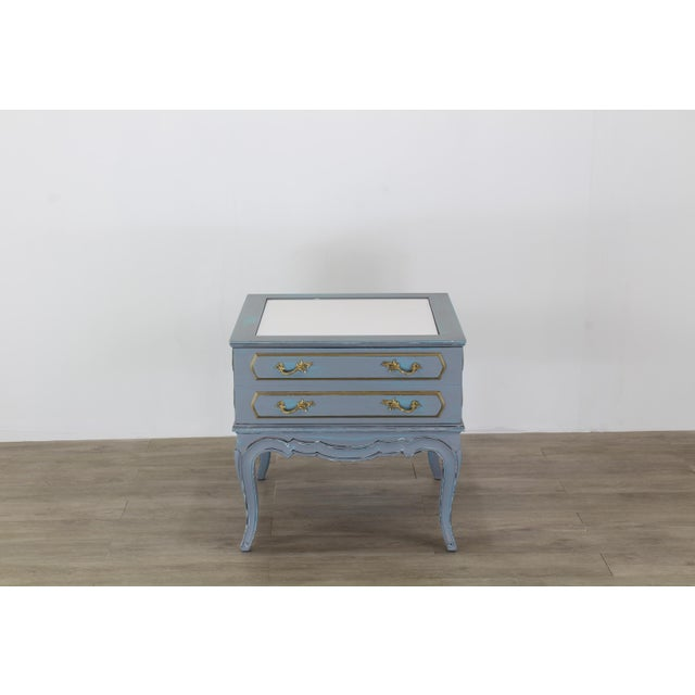 Mid-Century French Provincial Nightstands, a Pair - Vintage Nightstands - Gray Nightstands - Shabby Chic Nightstand - Blue Nightstans For Sale In Miami - Image 6 of 9