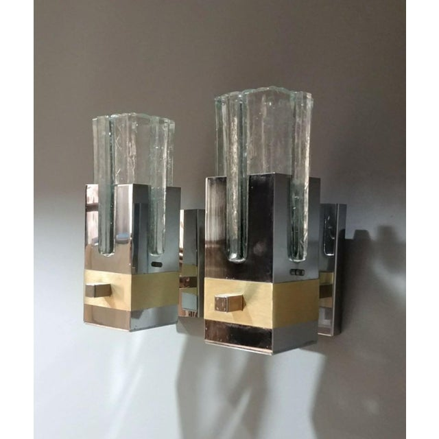 Mid-Century Modern Gaetano Sciolari Pair of Chrome and Brass Sconces, Italy, 1970s, Ipso Facto For Sale - Image 3 of 13