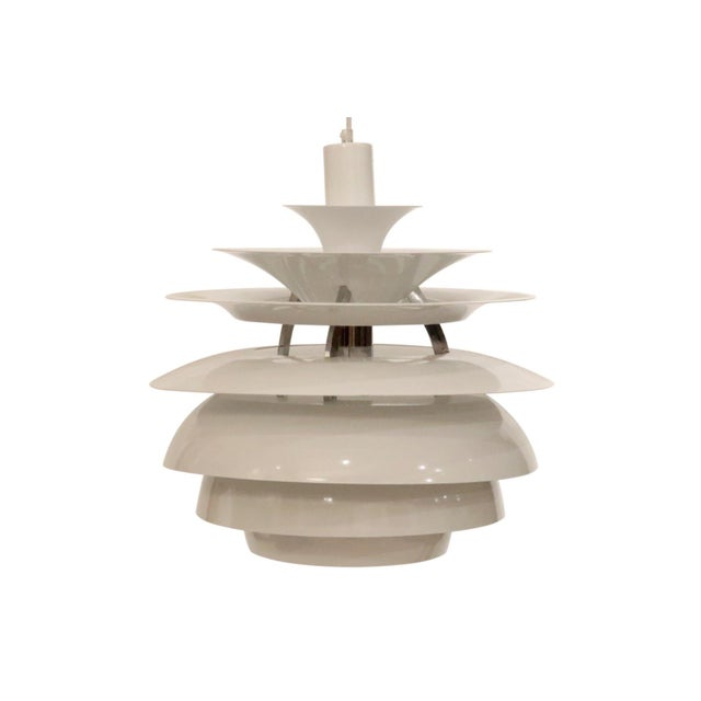1980s Mid-Century Italian White Metal Chandelier For Sale - Image 5 of 5