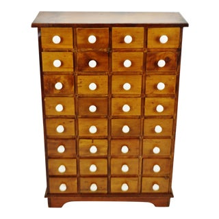 Antique 32 Drawer Apothecary Cabinet With Porcelain Knobs For Sale