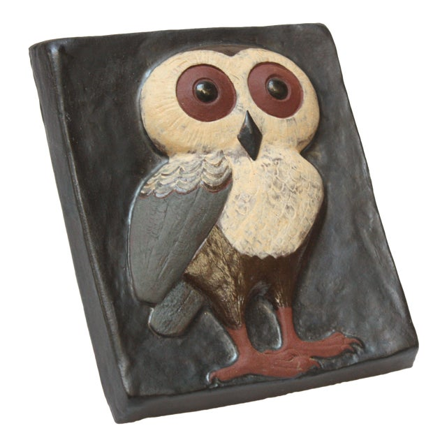 Danish Modern Terracotta 'Owl' Tile by Thyssen Keramik For Sale