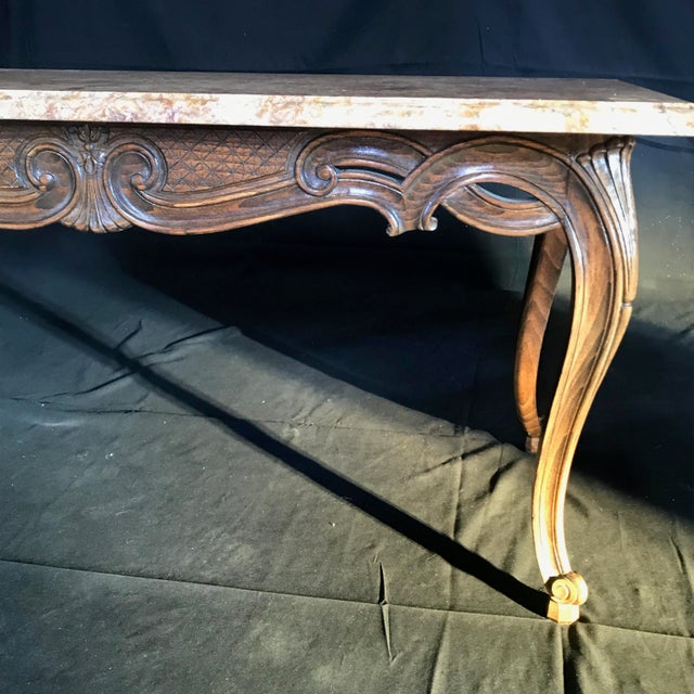 French Louis XV Style Carved French Coffee Table With Marble Top For Sale - Image 3 of 9