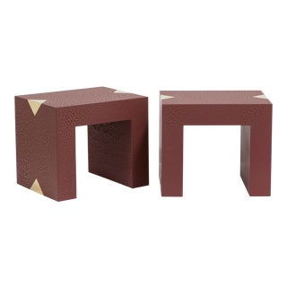 The Rectangular Crackle Side Tables by Talisman Bespoke (Burgundy and Gold) For Sale