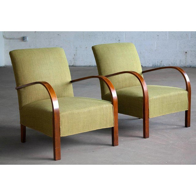 Art Deco Early Midcentury Danish Art Deco Low Lounge Chairs- A Pair For Sale - Image 3 of 12
