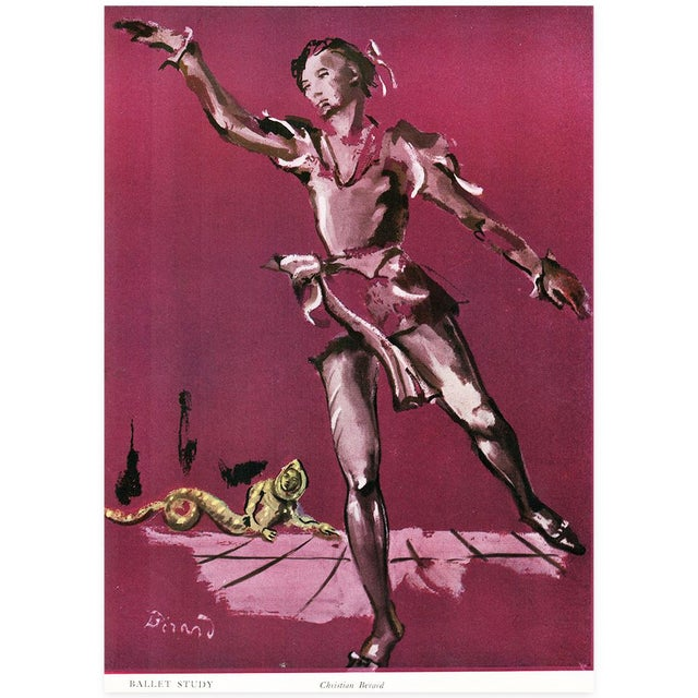 Extremely rare, original lithograph after Ballet Study painting by Christian Berard. Comes from a rare book published in...