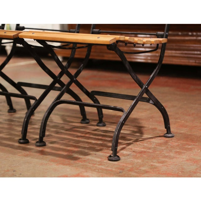 Painted Wrought Iron and Teak Wood Folding Garden Chairs, Set of Four For Sale In Dallas - Image 6 of 13