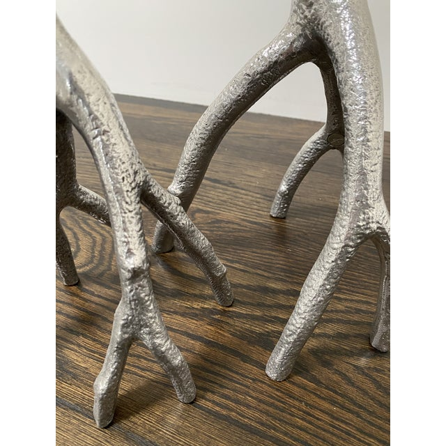"""Gorgeous new pair of Michael Aram Enchanted Forest Candle Sticks. (Mixed Pair) Small 7.25""""W x 16""""H, Large 8.25""""W x..."""