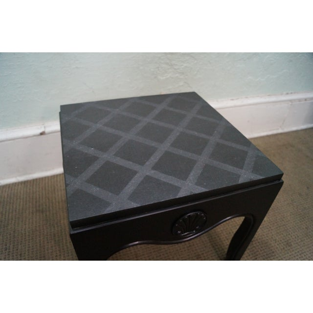 Black Mid-Century Ebonized Black Slate Top Side Tables - A Pair For Sale - Image 8 of 10