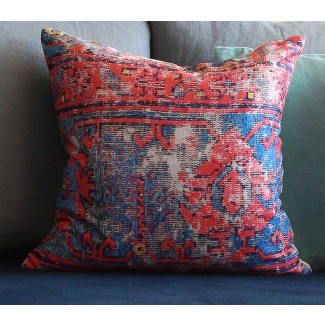 Plastic Red Distressed Turkish Rug Print Pillow For Sale - Image 7 of 7