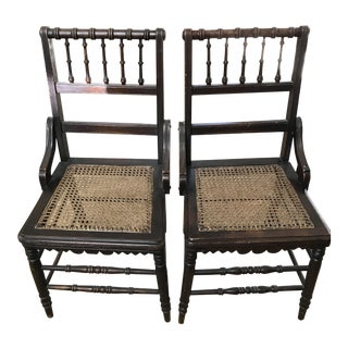 Antique Hall Side Accent Woven Cane Bottom Carved Chairs - a Pair For Sale