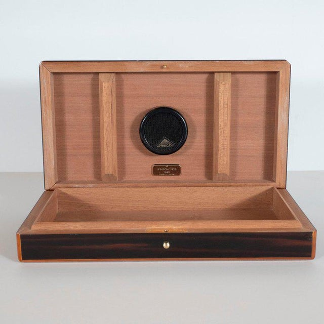 Brass Modernist Rosewood and Cedar Monogrammed Humidor by Louis Vuitton For Sale - Image 7 of 9