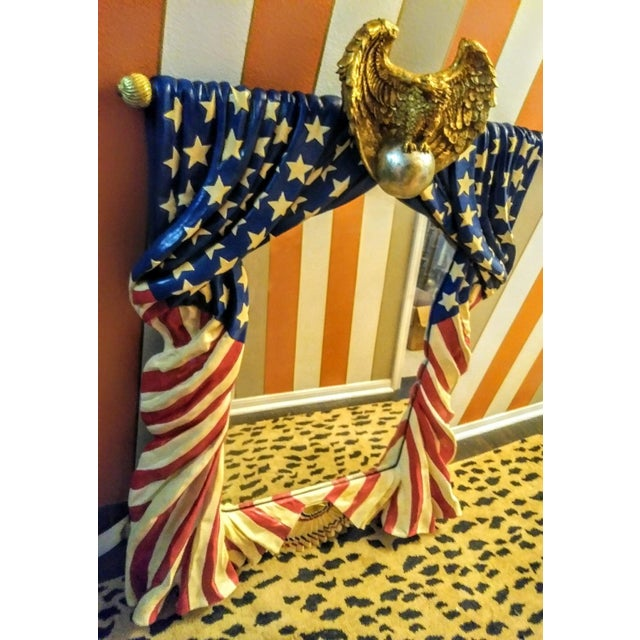 Rare Stunning Huge Draped American Flag Eagle Whimsical Wall Mirror For Sale - Image 9 of 13
